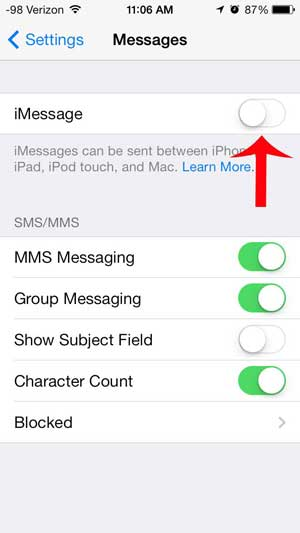how to use text messages instead of imessage on an iphone