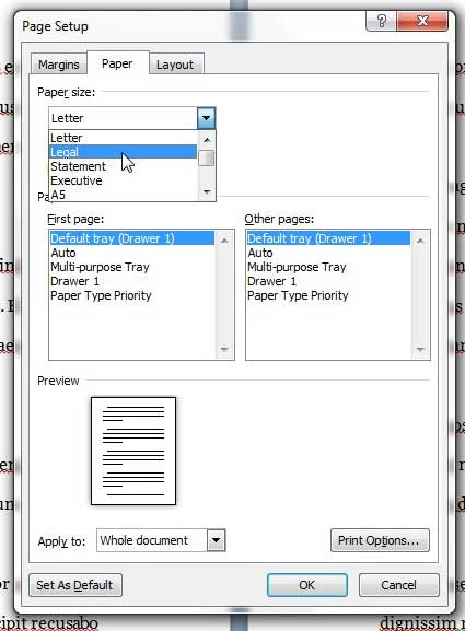 how to use legal sized paper by default in Word 2010