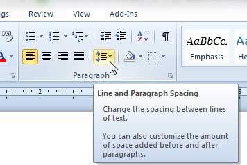 how to change the line spacing in word 2010