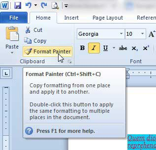 how to copy formatting between paragraphs in word 2010