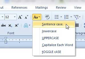 how to convert uppercase to sentence case in word 2010