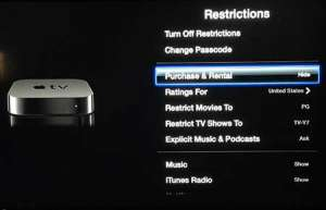 how to block purchases on the apple tv