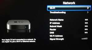 connect to a wireless network on the apple tv