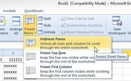 how to unfreeze the top row in excel 2010