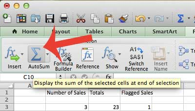 how to add up a column of data in excel 2011