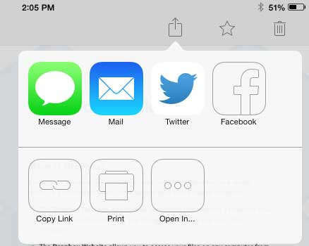 how to share a dropbox file over email on ipad