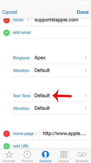 how to set a text tone for a contact on the iphone