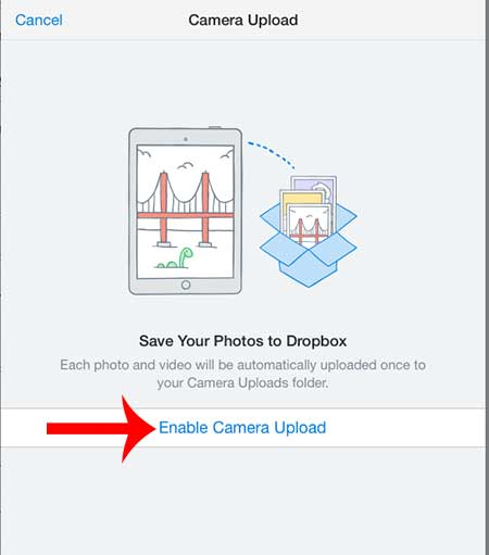 touch the enable camera upload button
