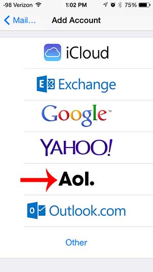 how to add aol email account to iphone 5