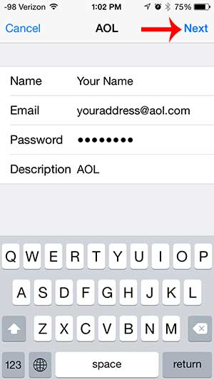 enter your aol account info, then touch next