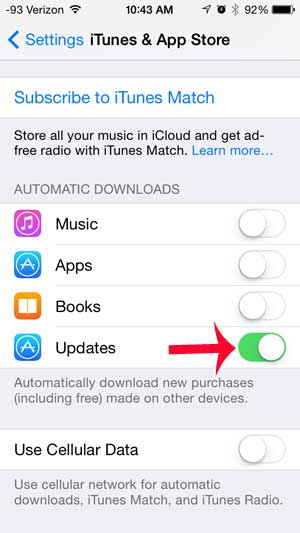 how to turn on automatic updates on the iphone 5
