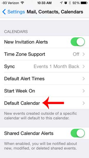 how to change the default calendar on the iphone 5