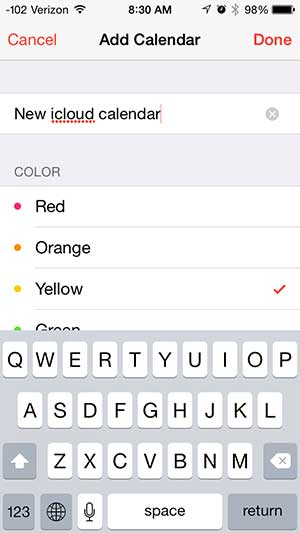 how to create a new icloud calendar on the iphone