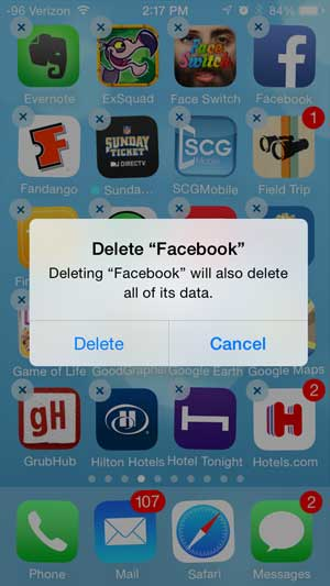 Delete facebook from iphone