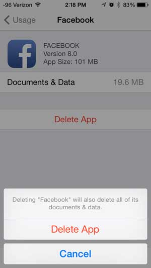 How to delete the facebook app on the iphone solve your tech touch the delete app button ccuart Images