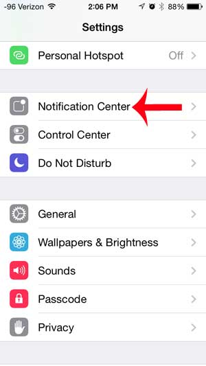select the notification center