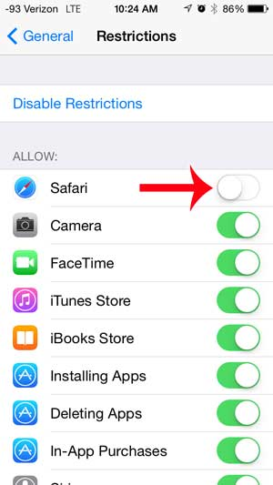 how to disable the web browser on the iphone 5