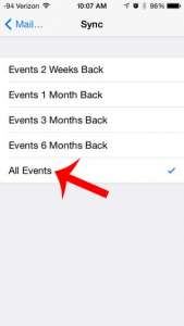 how to sync older events on the iphone calendar