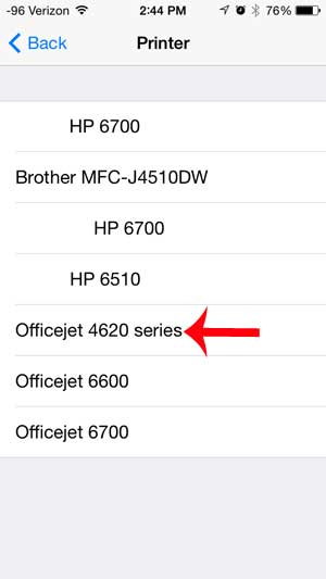 select the officejet 4620