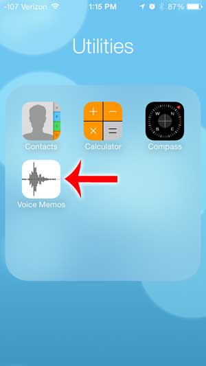 open the voice memos app