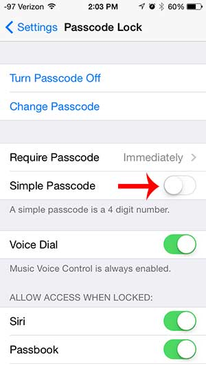 how to set a longer passcode in ios 7 on the iphone 5