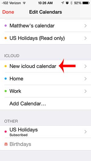 how to share an icloud calendar on the iphone 5