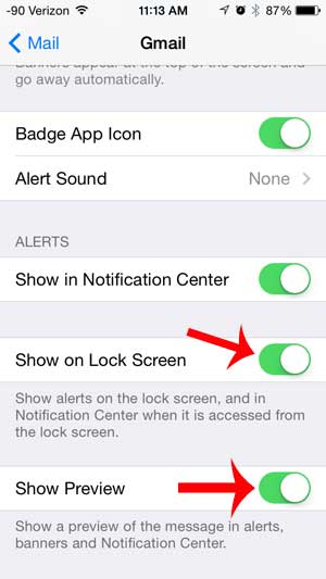 turn on the lock screen and show preview options