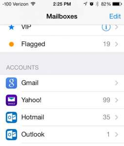 how to switch between email accounts on the iphone