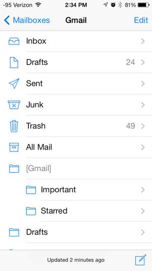 an email account structure on the iPhone