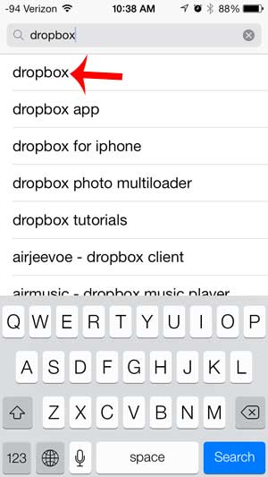 select the dropbox search result