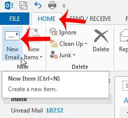 click home, then click new email
