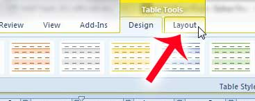 click the layout tab under table tools