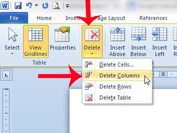 how to delete a column from a table in word 2010