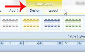 click inside the table to display the table tools