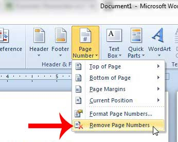 how to remove page numbers in word 2010