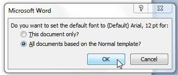how to set the default font in word 2010