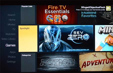 fire tv games menu