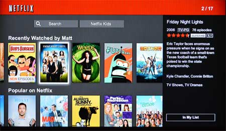 fire tv netflix menu