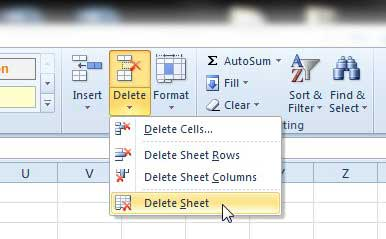 how to delete a worksheet in excel 2010