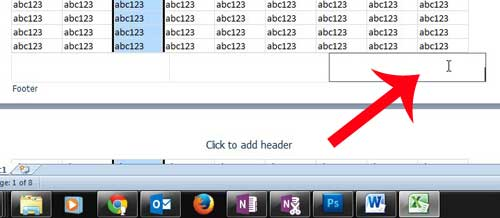 click inside the fotter section where you are adding the page number