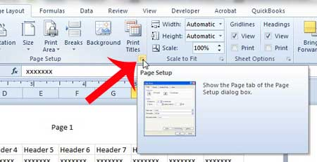 click the page setup button
