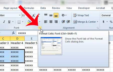 click the format cells: font button