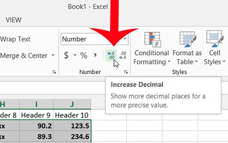how to increase the number of decimal places in excel 2013