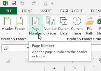 how to insert a page number in Excel 2013