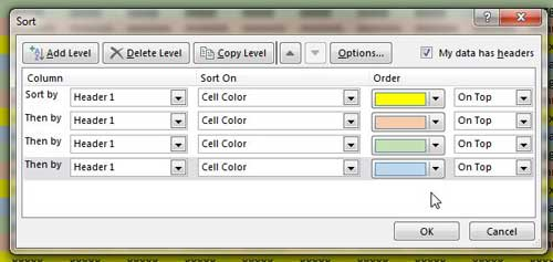 repeat steps 5-8 for each color in the spreadsheet