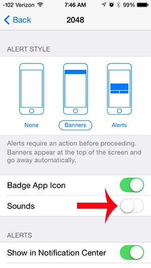 how to turn off alerts for 2048 on the iphone