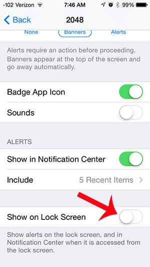 touch the show on lock screen button
