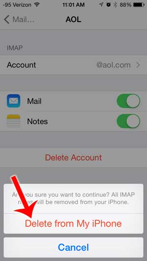 how to delete an aol email account from the iphone