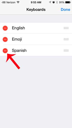 how to delete a keyboard on the iphone 5
