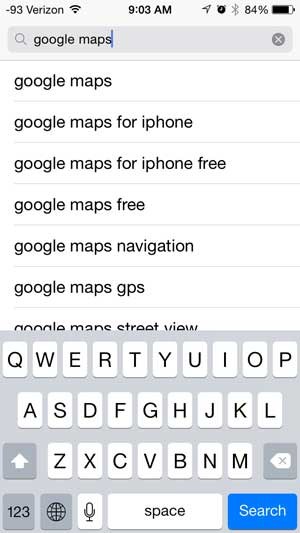 search for and select the google maps search result